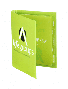 Compact binder and tabs for Lifegroups